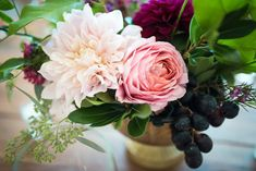 Café au lait dahlias, romantic antic roses and grapes in the Lita compote for a wedding photo: Eden and Archer photography flowers: Hello Buttercup Flowers Growing Flowers, Cut Flowers, Flower Centerpieces, Wedding Centerpieces, Photography Flowers, Flower Farm, Dahlias, Buttercup, Archer
