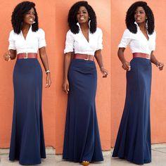"""Crisp White Shirt x @loft324 Maxi Skirt. Link in bio for additional details..."""