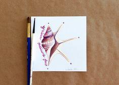 Original Gouache Pelican's Foot Seashell Painting by Amalia Hillmann of The Eclectic Illustrator Tactile Texture, Seashell Painting, Bristol Board, Beach Landscape, Gouache Painting, New Pins, Handmade Art, Love Art, Sea Shells