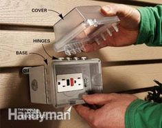 Add an outdoor electrical outlet to get power to where you need it, especially for holiday lights. Do it safely and easily with this simple through-the-wall technique. Outdoor Electrical Outlet, Outdoor Outlet, Home Electrical Wiring, Electrical Projects, Electrical Outlets, Electrical Engineering, Installing Electrical Outlet, Electrical Installation, Garage Atelier
