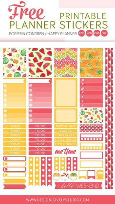 Free printable planner stickers with very colorful tropical fruit motifs. Beautiful free kit design for Erin Condren Life Planner and Happy Planner. Click the image to grab your free stickers >>>>