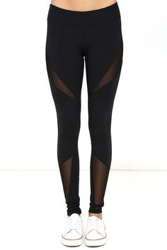 Turn your morning jog into a fashion show with the Stylish Stride Black Leggings! These stretch knit leggings have a wide waistband atop skinny pant legs with angular panels of sheer mesh.
