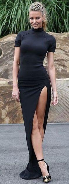 Thigh Split Maxi Black Dress                                                                             Source