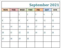 September 2021 Calendar PDF Printable Templates Print Calendar, Kids Calendar, Calendar Pages, 2021 Calendar, September Calendar Printable, Online Calendar, Excel Calendar Template, Planner Template, How To Gain Confidence