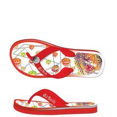 Ed Hardy Flip Flop Okinawa Sandal for Womens - Red - Yvonne's Hermes Handbags, Handbags Michael Kors, Louis Vuitton Handbags, Designer Handbags, Okinawa, Lady In Red, Fashion Shoes, Flip Flops, Sandals