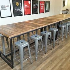 Reclaimed Wood And Steel Industrial High Top Conference Table by Daniel Chase