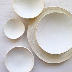 cloud white pieces by Elephant Ceramics, Michele Michael
