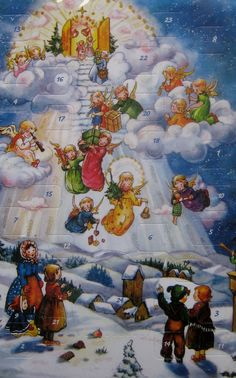 Christmas angels advent card made in Germany