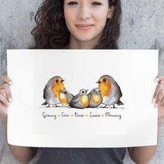 Robin Family Name Prints – Teenie Wee Baby Robin, Vibrant Colors, Colours, Nursery Decor, First Love, How To Draw Hands, Names, Drawings, Illustration