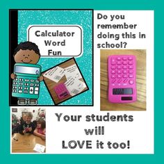 """Calculator word fun - students solve math problems, then check them with the calculator.  If they are correct, the calculator turned upside down """"spells a word""""  to answer the riddle on the card!"""