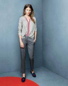 J.Crew embroidered peasant top, Paley pant in Super 120s and the Lulu Frost for J.Crew Equinox earrings.