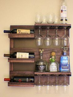 Rustic 6 Bottle Wine Rack with 4 Glass Slot Holder and Top