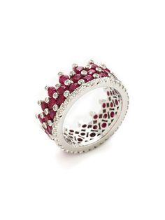 Beautiful Diamond & Ruby Triple Row Ring by Favero.