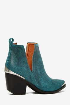 Jeffrey Campbell Cromwell Suede Bootie - Teal - Shoes | Jeffrey Campbell | Flats | Ankle | Shoes | All