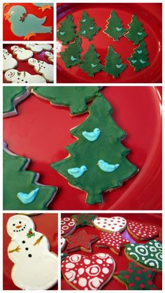 Frosted Christmas cookies... royal icing ... flow