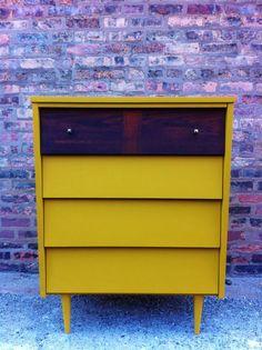 Mid Century Dresser In Mustard Yellow. $299.00, via Etsy.