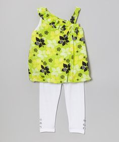 Look at this #zulilyfind! Lime Floral Bubble Tunic & Leggings - Infant, Toddler & Girls by Diva #zulilyfinds