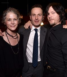 "Melissa McBride, Andrew Lincoln & Norman Reedus | ""The Walking Dead"" panel at the Egyptian Theater on Monday, April 20, 2015 in Los Angeles"