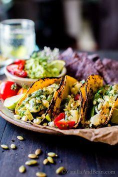 Packed with juicy summer veggies: Creamy Corn, Zucchini and Poblano Tacos   Vegetarian   Gluten Free   Freezer Friendly