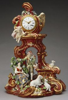"""1761-1766 British Mantel clock in the Royal Collection, UK - From the curators' comments: """"Porcelain clock cases or watch-stands were first produced by European factories in the 1720s, but do not appear in English porcelain until the late 1750s, when such objects were made at Bow and Chelsea....They present something of a hybrid design, resembling the large-scale 'pastoral' groups of shepherds and shepherdesses which were made at Chelsea in the early 1760s, but surmounted by a small clock."""""""