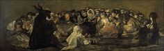 """SEX, DRUGS, AND BROOMSTICKS: THE ORIGINS OF THE ICONIC WITCH, BY DYLAN THURAS - Caption: Francisco Goya, """"Witches' Sabbath (The Great He-Goat)"""" (1821-1823), oil on canvas (via Wikimedia)"""