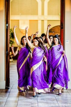 lovee how the bridesmaids are bringin it! indian-wedding-purple-lengha-bridal-party
