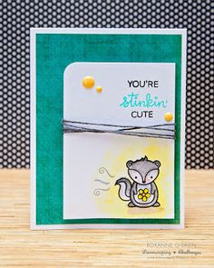 Card critters skunk Lawn Fawn You´re stinkin´ cute Stinking cute Lawnscaping Challenge Lawn Fawn Stamps, Animal Party, Party Animals, Card Sketches, Cute Cards, Scrapbook Cards, Craft Projects, Christmas Cards, Challenges