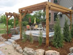 Pergola's with L shaped Fire pit and Pure Falls