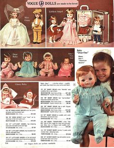 1972 all VOGUE Dolls - Littlest Angel, Baby Dear One, Miss Ginny, Dear Baby, and babys First Doll