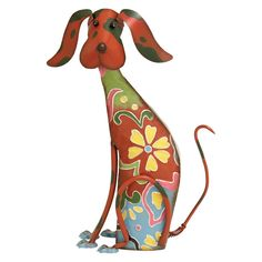 Deco 79 55138 Metal Decorative Dog Statue, 12 by 17 inch updated traditional red floral patterned iron whimsical dog garden sculpture, textured metal details. Suitable to use as a decorative item. Unique home decor. This product is manufactured in China. Dog Garden Statues, Outdoor Statues, Dog Sculpture, Outdoor Sculpture, Abstract Metal Wall Art, Metal Yard Art, Arte Popular, Home Decor Wall Art, Garden Art