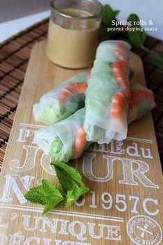 spring rolls + peanut dipping sauce