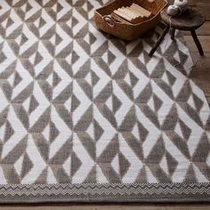 Nomad Printed Cotton Dhurrie - Straw   west elm