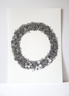 ORIGINAL Floral berry wreath print, indian ink art, pen and ink drawing, fruit…