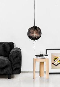 Black textile lamp
