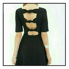 NWT FOREVER 21 Little Black Dress open-back/bows NWT - Never worn sexy, cute, and comfortable little black dress! Measurements are available upon request. Please use the offer button for all offers. Feel free to bundle for a 10% discount! Sorry loves, no trades. Forever 21 Dresses Backless