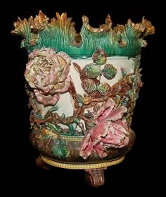 Majolica Planters | Antiques  Legacy Antiques  Exquisite French Majolica Planter
