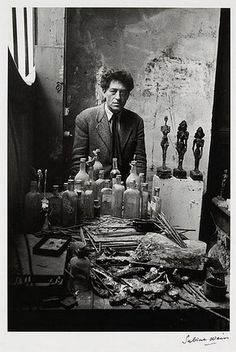 Alberto Giacometti en 1954, por Sabine Weiss  http://entregulistanybostan.tumblr.com/post/93657994593/alberto-giacometti-en-1954-por-sabine-weiss