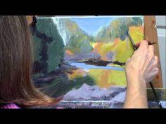 """Umpqua Reflections"" Part 1 - Acrylic Autumn River Landscape Painting Demo Acrylic Painting Tutorials, Painting Videos, Painting Techniques, Pond Painting, Diy Painting, Landscape Paintings, Watercolor Paintings, Acrylic Paintings, Beautiful Paintings"