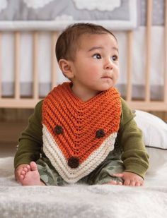 This sweet Finley the Fox Bib is just one of the 18 adorable patterns in Sharon Zientara's new release 3 Skeins or less: Modern Baby Crochet. Full of fresh and modern designs, Modern Baby Crochet includes 128 pages of stylish garments, unique toys, Crochet Baby Bibs, Crochet Gifts, Crochet For Kids, Free Crochet, Knit Crochet, Baby Bibs Patterns, Crochet Patterns, Crochet Ideas, Bib Pattern