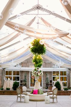 clear top tent with draping and clear balls hanging (DIY clear christmas ornaments?)