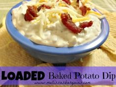 If you need a new recipe idea for game day or for a potluck or get together, this is IT! ~~This LOADED Baked Potato Dip Recipe was a huge hit with my family. My taste testers all loved it and couldn't stop after the taste testing started! Fondue Recipes, Dip Recipes, Snack Recipes, Snacks, Recipies, Potato Recipes, Easy Recipes, Loaded Baked Potato Dip Recipe, Loaded Baked Potatoes