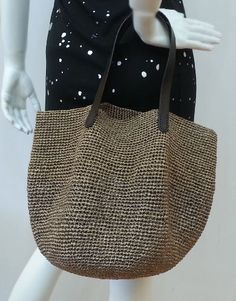 crocheted summer raffia brown green tote beach by BusyPaws on Etsy
