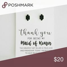 "Maid of Honor • Thank You Gift Here's a great way to say ""THANK YOU"" to your Bridesmaids! Maid of Honor gifts are available in other listings as well. This listing is for one pair of earrings + thank you card.   Add on MOH/Bridesmaids earrings for $10 each.  Example: Maid of Honor earrings plus three Bridesmaids earrings = $50.  You can add each pair to a bundle, then make me an offer for the adjusted price or add the items to a bundle and I can adjust the price for you. Please let me know…"