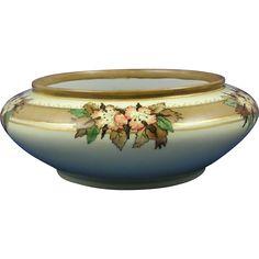 Austrian Blank Porcelain Arts & Crafts Floral Design Bowl/Planter (c.1900-1930) Dark Flowers, Autumn Decorating, Arts And Crafts Movement, Decorative Bowls, Floral Design, Pottery, Hand Painted, Studio, Antiques
