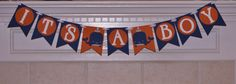 It's a boy nautical whale navy blue and orange banner baby shower decorations photo prop We're Expecting We're Pregnant Baby Announcement by CelebrateCustomEvent on Etsy