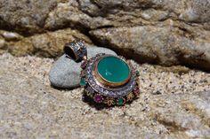 Aventurine, Emerald and Ruby and Swarovski Crystals Pendant RIPE091