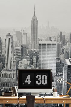 On the lookout for creative office wallpaper ideas? This New York city wall mural is an awe-inspiring view over the vast concrete jungle of skyscrapers. Perfect for modern interiors looking for a touch of sophistication.