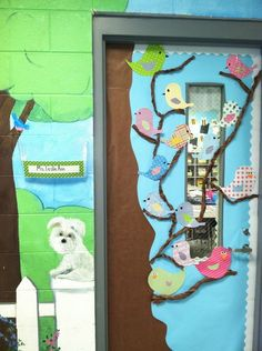 Classroom Door Decor Idea spring or first days of school. I think this would be cute to do on your child's door and change it for holidays and seasons.