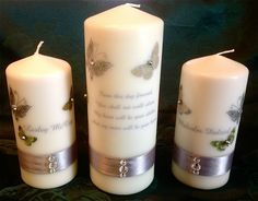 The back of a typical Unity Candle Set created by WeddingCandles.ie - we can include a verse/prayer/poem/message or just about anything to the back of the Unity Candle making it that bit more personal.