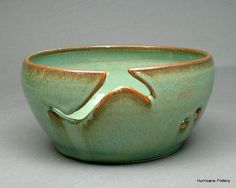 Yarn Bowl in Aqua with Brown for Knitting or Crochet by Hurricane Pottery on Etsy